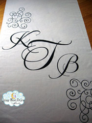 traditional aisle runner initials 12